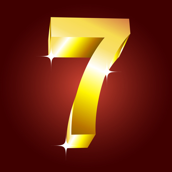 Number seven. Vector golden font