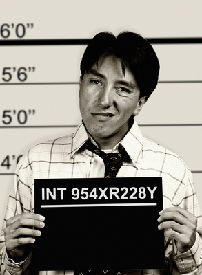 B & W mugshot of business man